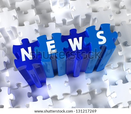 Creative 3D pieces of puzzle and word NEWS - stock photo