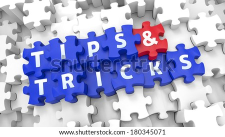 Creative 3D pieces of puzzle and words TIPS & TRICKS - stock photo