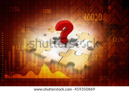 Creative 3D rendering pieces of puzzle and questionmark symbol - stock photo