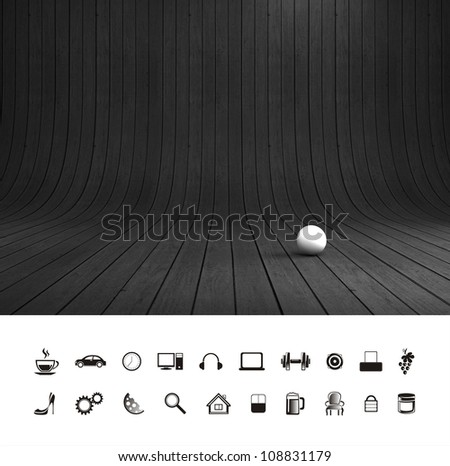 Creative dark black wood background. Professional photo studio place. - stock photo