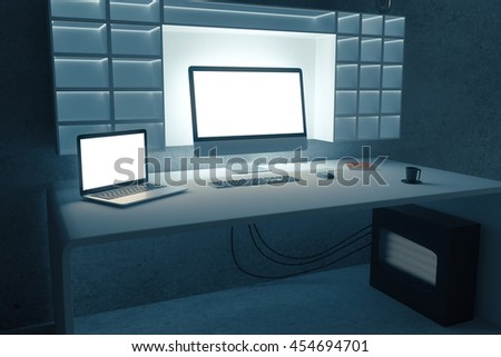 Creative dark workplace with blank white computer and laptop screens. Mock up, 3D Rendering