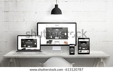 Creative deks scene for web design agency promotion. Modern, clean responsive web site promotion on different devices. Designer studio desk front view.