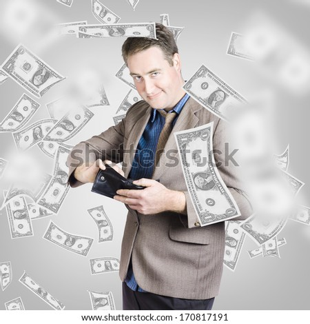 Creative design portrait of a wealthy businessman counting American dollar bills in wallet under a shower of money. Financial success - stock photo