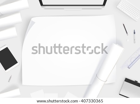 Creative designer desk with blank paper whatman mockup. Showing design presentation on artist workplace mock up. Developer table surface with creativity equipment. Business space workshop draft desk. - stock photo