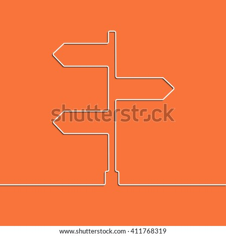 Creative direction arrow sign. The concept of choosing the direction of the road junction. Graphic illustration - stock photo