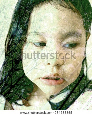 Creative double exposure portrait of attractive lady combined with photograph of leafy tree