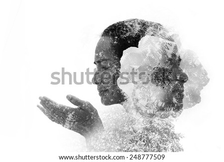 Creative double exposure portrait of young Asian woman combined with photograph of flower and nature. - stock photo