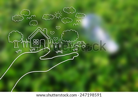 Creative drawing ecology concept on green grass background. - stock photo