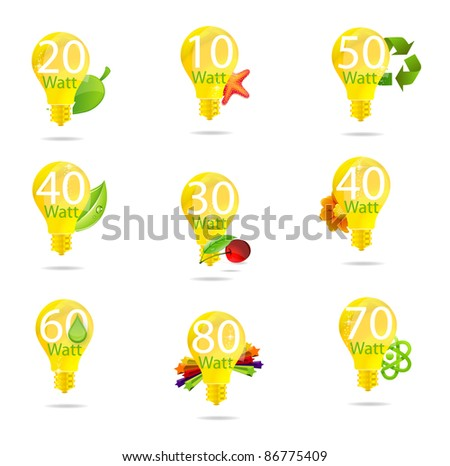 creative eco electrical gold bulb sign set - stock photo