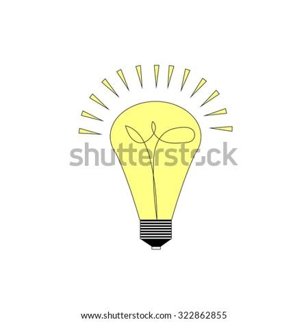 Creative effective idea in light bulb shape as inspiration concept. Design element. Flat icon - stock photo