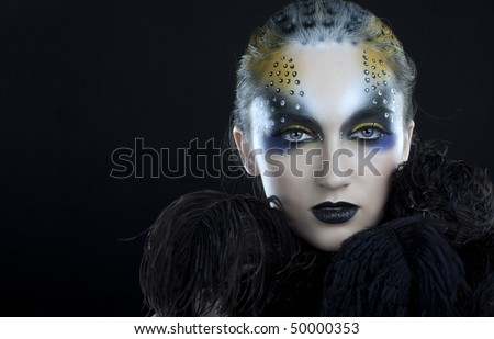 Creative face paint portrait - stock photo