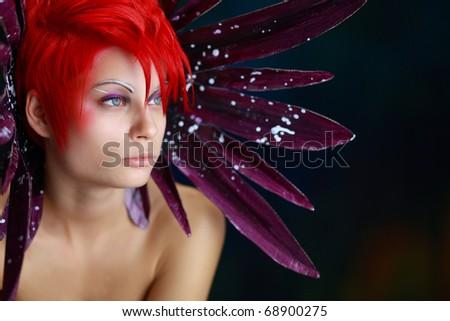 Creative face paint portrait - stock photo
