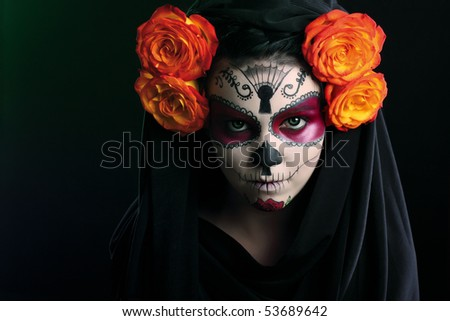 Creative face paint portrait flower .Day of the Dead persons.halloween - stock photo