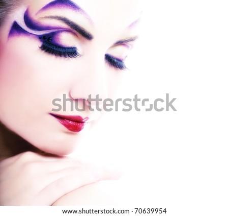 Creative fashion make-up - stock photo