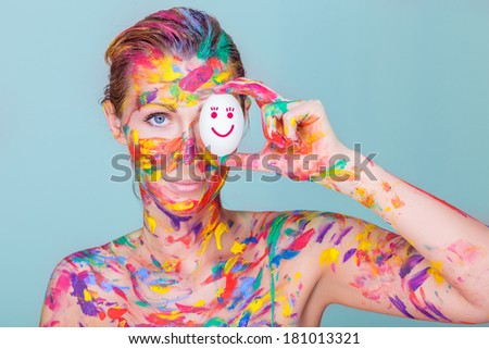 creative female egg designer - stock photo