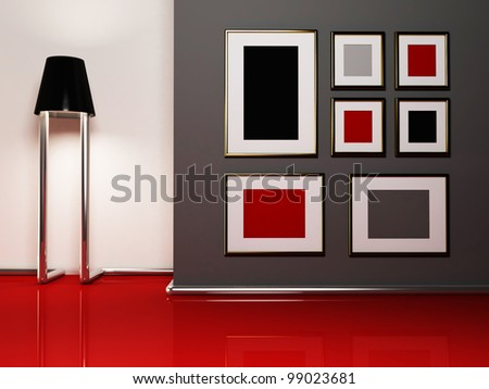 Creative floor lamp and the pictures in the room - stock photo