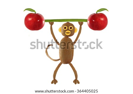 Creative food concept. Funny little monkey of the kiwi - stock photo