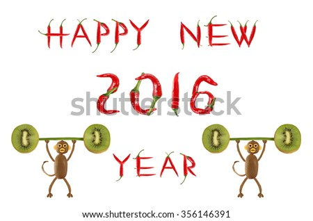 Creative food concept. Funny little monkey of the kiwi. Happy New Year.   - stock photo