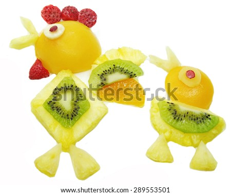 creative fruit dessert for child funny form cock bird and chick - stock photo