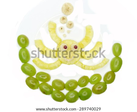 creative fruit dessert for child funny form crab - stock photo