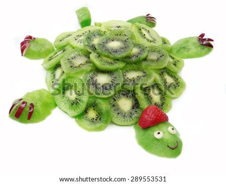 creative fruit dessert for child funny form tortoise - stock photo
