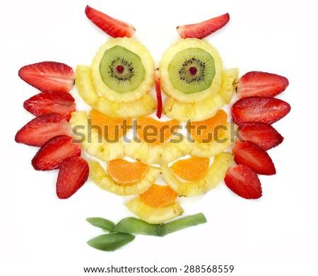 creative fruit dessert for child funny owl bird - stock photo