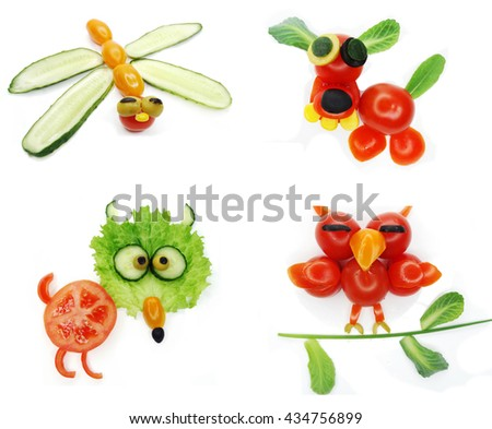 creative funny vegetable food snack with cuccumber dragon form - stock photo