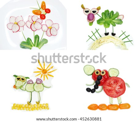 creative funny vegetable food snack with cucumber butterfly on flower form