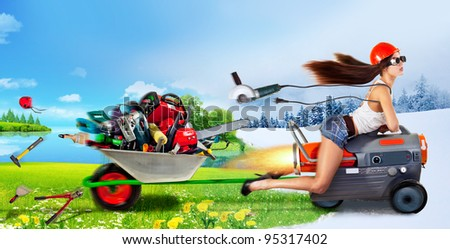 creative girl rides a heat gun and takes a trolley with different tools - stock photo