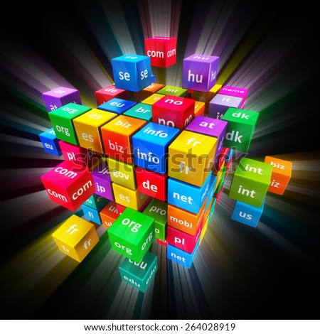 Creative global internet communication PC technology and web telecommunication business computer concept: group of colorful cubes with color domain names on black background with glowing effect - stock photo