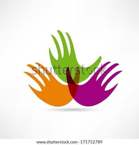 creative handshake vector icon - stock photo