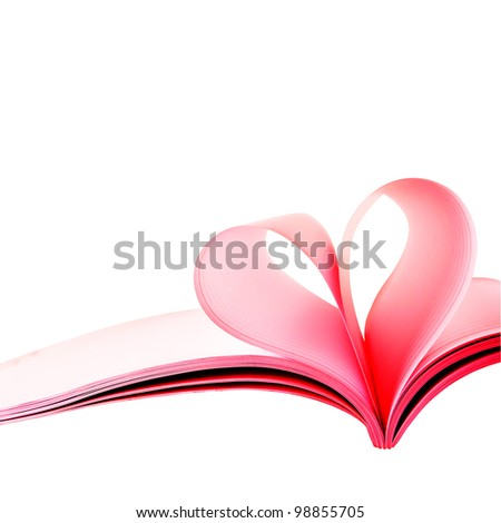 Creative heart from white pages book on white background. - stock photo