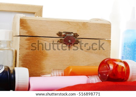 Creative hobby items in studio white background.