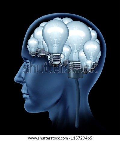Creative human brain with a side profile of a person with the mind made of a group of bright illuminated light bulbs as a concept of the creative thinker finding solutions and creativity in life.