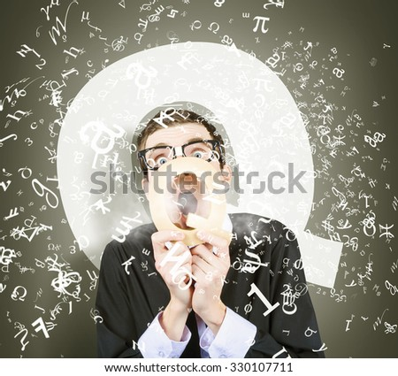 Creative humorous photo of a science geek asking quick question through q letter. Questions and answers - stock photo