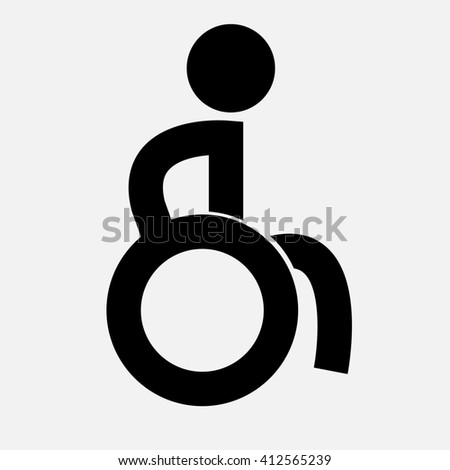 Creative icon with line man in wheelchair . Can be use for logo. - stock photo