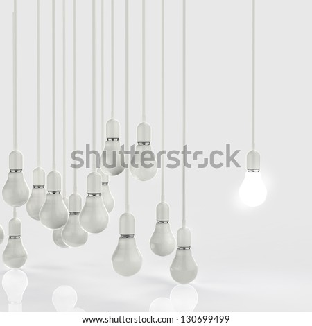 creative idea and leadership concept light bulb 3d design
