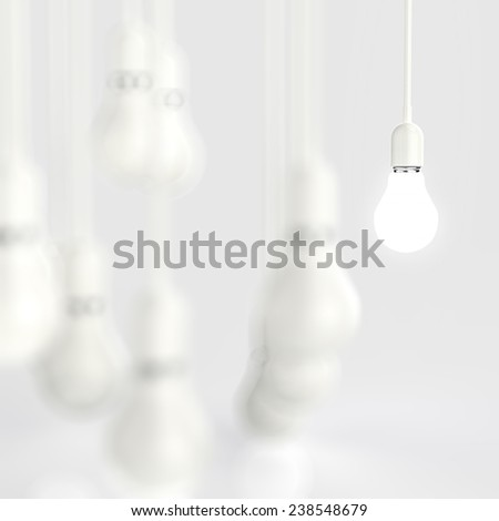 creative idea and leadership concept light bulb 3d design - stock photo