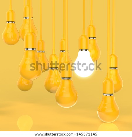 creative idea and leadership concept light bulb on grey background - stock photo