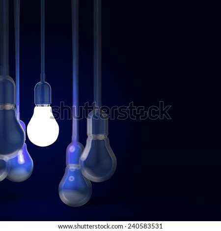 creative idea and leadership concept with 3d blue light bulb - stock photo