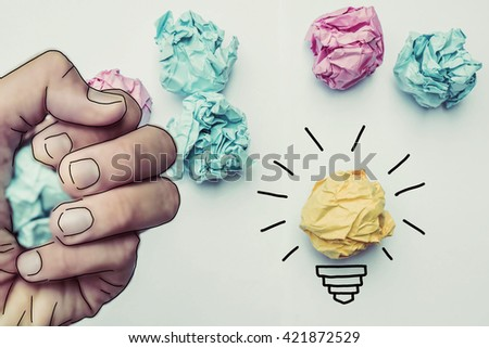 creative idea.Concept of idea and innovation with paper ball - stock photo
