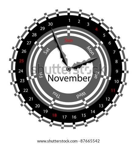 Creative idea of design of a Clock with circular calendar for 2012.  Arrows indicate the day of the week and date. November - stock photo