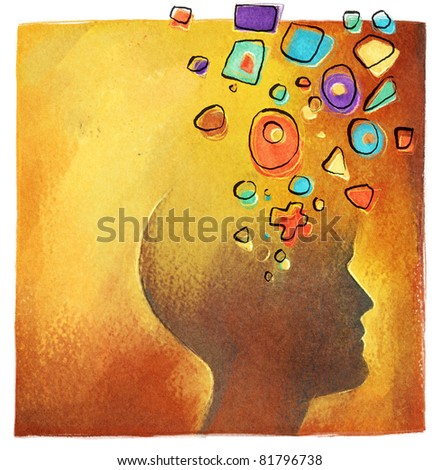 creative ideas - abstract colorful head symbol - stock photo
