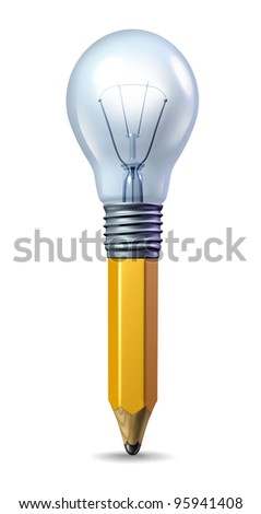 Creative ideas icon with a pencil and a lightbulb married together as a symbol of creativity and innovation and a spark of talented inspiration for the arts or as a symbol for a new  business idea. - stock photo