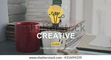Creative Ideas Imagination inspiration Light Bulb Concept - stock photo