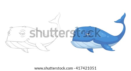 Creative Illustration and Innovative Art: Animal Set: Sketch Line Art and Coloring Book: Blue Whale. Realistic Fantastic Cartoon Style Character Design, Wallpaper, Story Background, Card Design  - stock photo