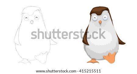 Creative Illustration and Innovative Art: Animal Set: Sketch Line Art and Coloring Book: Cute Walking Penguin. Realistic Fantastic Cartoon Style Character Design, Wallpaper, Background, Card Design - stock photo