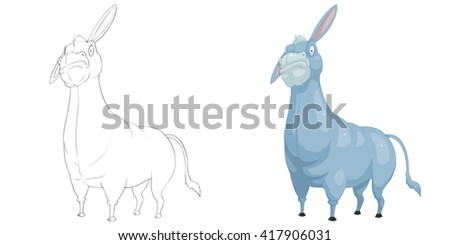 Creative Illustration and Innovative Art: Animal Set: Sketch Line Art and Coloring Book: Donkey. Realistic Fantastic Cartoon Style Character Design, Wallpaper, Story Background, Card Design  - stock photo