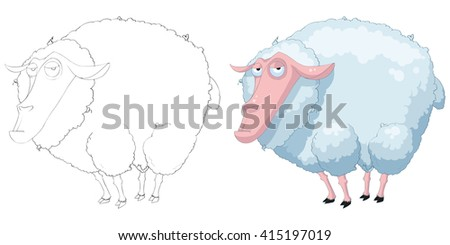 Creative Illustration and Innovative Art: Animal Set: Sketch Line Art and Coloring Book: Sheep. Realistic Fantastic Cartoon Style Artwork Scene, Wallpaper, Story Background, Card Design  - stock photo
