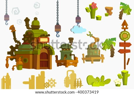 Creative Illustration and Innovative Art: Industry Objects isolated on White Background. Realistic Fantastic Cartoon Style Artwork Scene, Wallpaper, Story Background, Card Design - stock photo